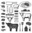 Vintage Steak Icon Set vector image
