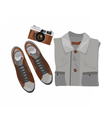 Shirt and shoes and vintage camera vector image