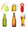 barley grains malt bottle opener flasks vector image