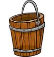 wooden bucket retro cartoon clip art vector image