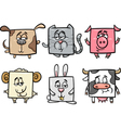 square animals set cartoon vector image vector image