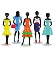 Fashion girl in Colored party dressesSale poster vector image