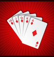 a royal flush of diamonds on red background vector image