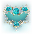 banner with turquoise roses vector image