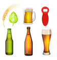 barley grains malt bottle opener flasks vector image