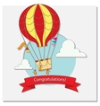 Greeting card with hot air balloon and clouds vector image