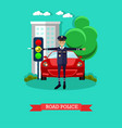 road police in flat style vector image