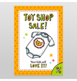 Toy shop sale flyer design with cute baby bodysuit vector image