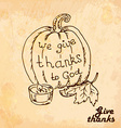 Vintage old background with pumpkin Hand drawing vector image