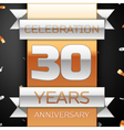 Thirty years anniversary celebration golden and vector image