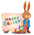 A happy easter greeting with bunny and eggs vector image vector image