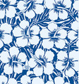 Graphic navy and white tropical flowers seamless vector image