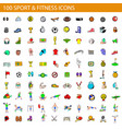 100 sport and fitness icons set cartoon style vector image