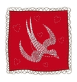 Handkerchief with swallow embroidery vector image