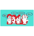 Gestures by hands which are wishes in new year vector image