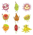 Tropical Fruits Girly Cartoon Characters Set vector image