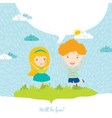 happy kids on summer background vector image