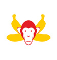 Monkey and bananas Chimpanzee head and crossed vector image