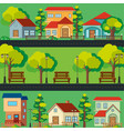 scene with houses along the road vector image