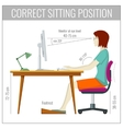 Correct spine sitting posture at computer health vector image