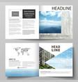 Templates for square design bi fold brochure vector image