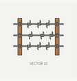 line flat color military icon - barbed wire vector image