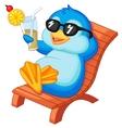 Cute penguin cartoon sitting on beach chair vector image