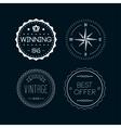 Vintage badges white 4 vector image