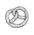 Black and white hand drawn sketch of a pretzel vector image