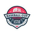 baseball cup for little player vintage label vector image