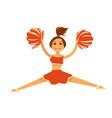 cheerleader in orange uniform with pompons jumps vector image