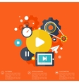 Flat cloud computing background with media icons vector image
