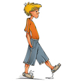 Funny walking teenager boy vector image