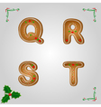 Gingerbread font q to t vector image