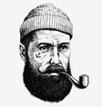 Hand drawn vintage hipster sailor with thick beard vector image