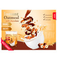 instant oatmeal with chocolate and hazelnut vector image