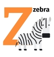 English animals zoo alphabet letter Z vector image