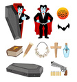 Dracula set Vampire and bats Weapon against vector image