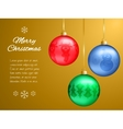Christmas card with multi-colored pendants in the vector image