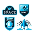Vintage space and astronaut badges or labels set vector image