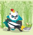 warrior armor china panda character vector image