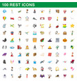 100 rest icons set cartoon style vector image