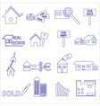 blue real estate outline icons and symbols set vector image
