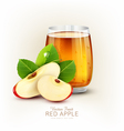 cup glass of apple juice with slices of apple vector image vector image