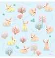 Seamless pattern of winter forest with rabbits vector image vector image