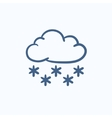 Cloud with snow sketch icon vector image vector image
