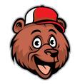 cartoon cheerful bear head wearing a baseball cap vector image