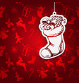 christmas sock santa claus decorative christmas vector image