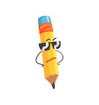 cute cartoon yellow pencil character wearing vector image
