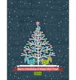 grunge grey background with christmas tree vector image